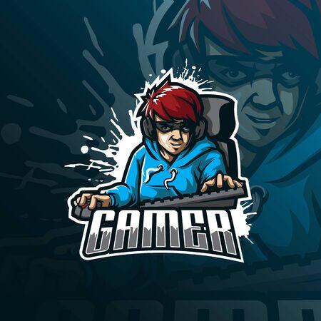 gamer mascot logo design vector with modern illustration concept style for badge, emblem and tshirt printing. gamer illustration.