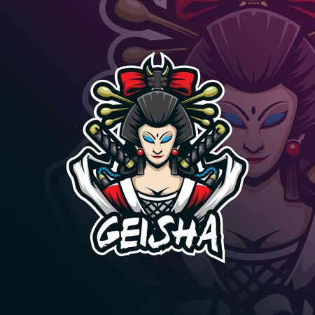 geisha mascot logo design vector with modern illustration concept style for badge, emblem and tshirt printing. geisha illustration for sport team.