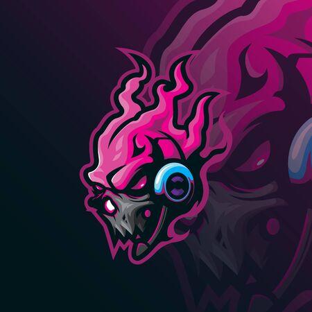 skull mascot logo design vector with modern illustration concept style for badge, emblem and tshirt printing. skull gamer illustration.  イラスト・ベクター素材