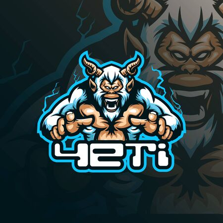yeti mascot logo design vector with modern illustration concept style for badge, emblem and tshirt printing. angry yeti illustration for esport team.