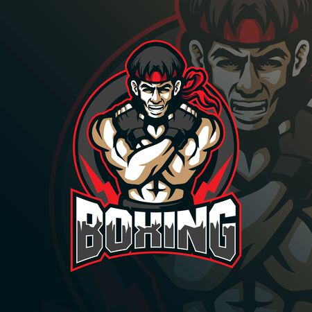 boxing mascot logo design vector with modern illustration concept style for badge, emblem and tshirt printing. boxing illustration for sport team.  イラスト・ベクター素材