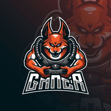 fox mascot logo design vector with modern illustration concept style for badge, emblem and tshirt printing. fox gamer illustration for sport and esport team.