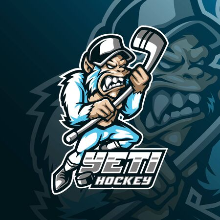 yeti hockey mascot logo design vector with modern illustration concept style for badge, emblem and tshirt printing. angry yeti illustration for sport and team.  イラスト・ベクター素材