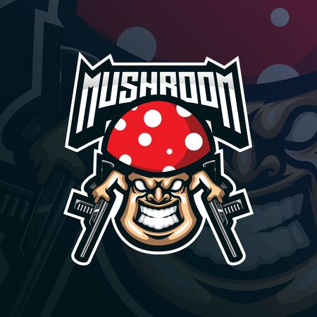 mushroom mascot logo design vector with modern illustration concept style for badge, emblem and tshirt printing. angry mushroom illustration with guns in hand.