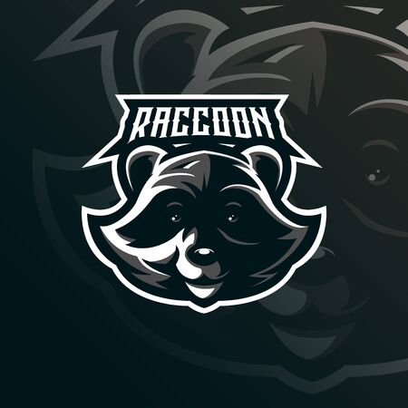 raccoon mascot logo design vector with modern illustration concept style for badge, emblem and tshirt printing. raccoon head illustration.