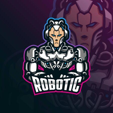 robotic mascot logo design vector with modern illustration concept style for badge, emblem and tshirt printing. smart robotic illustration.  イラスト・ベクター素材