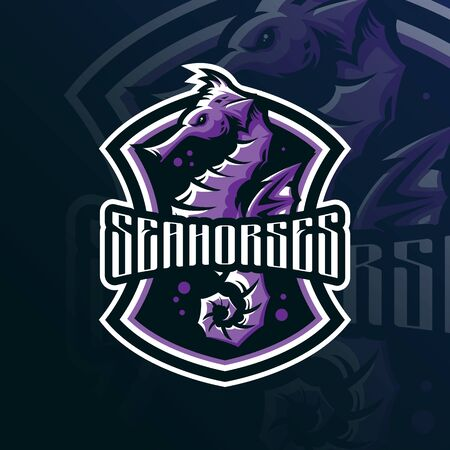 seahorse mascot logo design vector with modern illustration concept style for badge, emblem and tshirt printing. seahorse illustration.  イラスト・ベクター素材