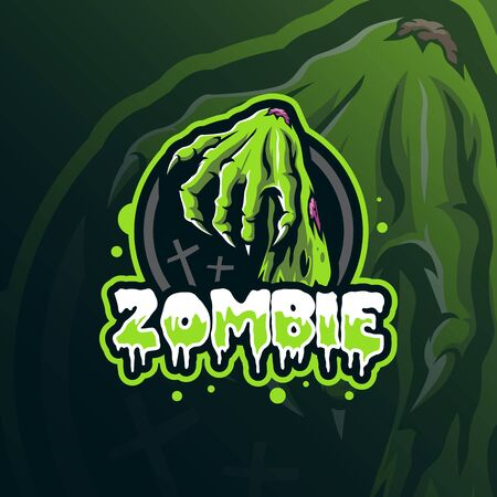 zombie mascot logo design vector with modern illustration concept style for badge, emblem and tshirt printing. hand zombie illustration.
