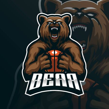 bear mascot logo design vector with modern illustration concept style for badge, emblem and tshirt printing. angry bear basketball illustration.  イラスト・ベクター素材