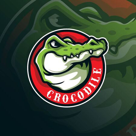 crocodile mascot logo design vector with modern illustration concept style for badge, emblem and tshirt printing. head crocodile illustration.