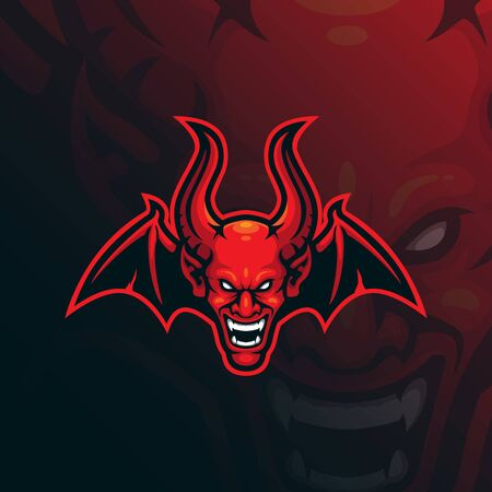 devil mascot logo design vector with modern illustration concept style for badge, emblem and tshirt printing. angry head devil illustration.