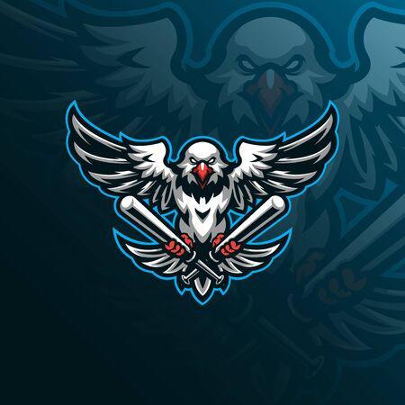 eagle mascot logo design vector with modern illustration concept style for badge, emblem and tshirt printing. eagle baseball illustration for sport team.