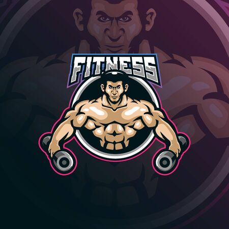 fitness mascot logo design vector with modern illustration concept style for badge, emblem and t shirt printing. fitness illustration with barbell in hand.