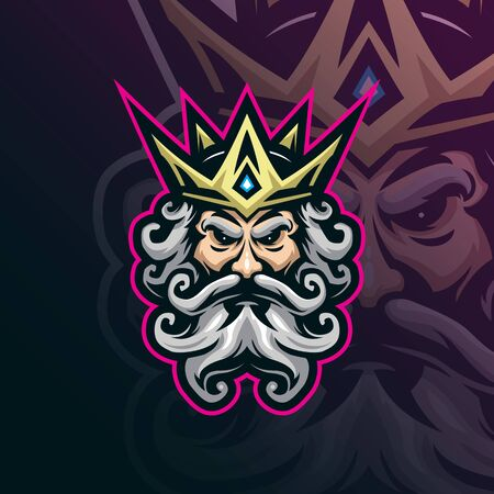 king mascot logo design vector with modern illustration concept style for badge, emblem and t shirt printing. king head illustration.  イラスト・ベクター素材