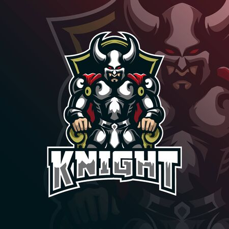 knight mascot logo design vector with modern illustration concept style for badge, emblem and t shirt printing. king knight illustration.