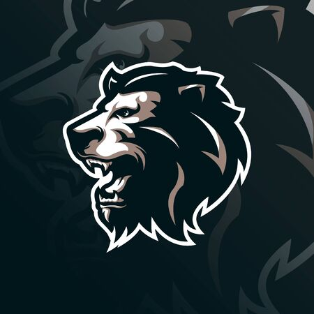 lion mascot logo design vector with modern illustration concept style for badge, emblem and t shirt printing. lion head illustration for sport team.