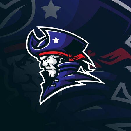 patriot mascot logo design vector with modern illustration concept style for badge, emblem and t shirt printing. patriot head illustration.