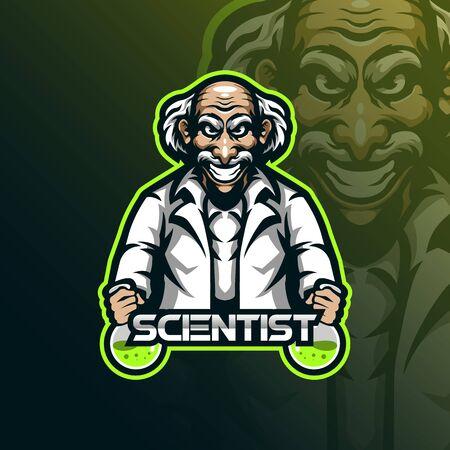 scientist mascot logo design vector with modern illustration concept style for badge, emblem and t shirt printing. scientist illustration.  イラスト・ベクター素材