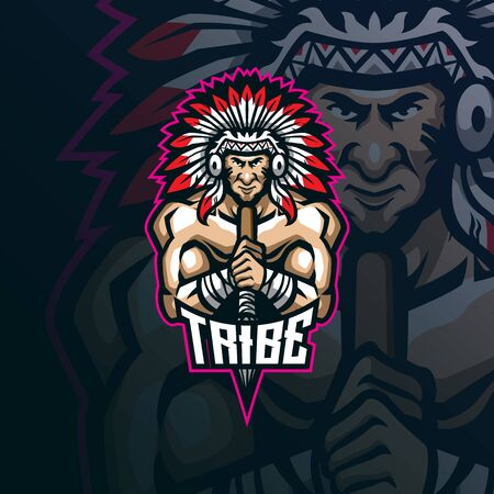 tribe mascot logo design vector with modern illustration concept style for badge, emblem and t shirt printing. tribe illustration with spear in hand.  イラスト・ベクター素材