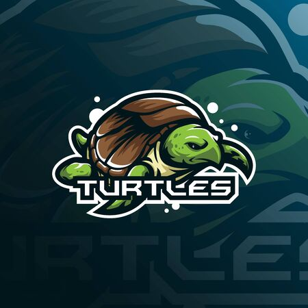 turtle mascot logo design vector with modern illustration concept style for badge, emblem and t shirt printing. sea turtle illustration.  イラスト・ベクター素材