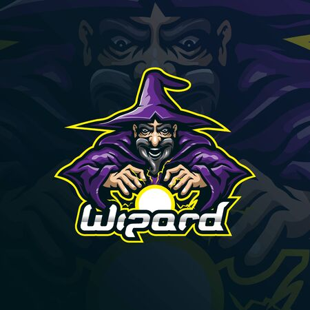 wizard mascot logo design vector with modern illustration concept style for badge, emblem and t shirt printing. wizard action illustration.  イラスト・ベクター素材