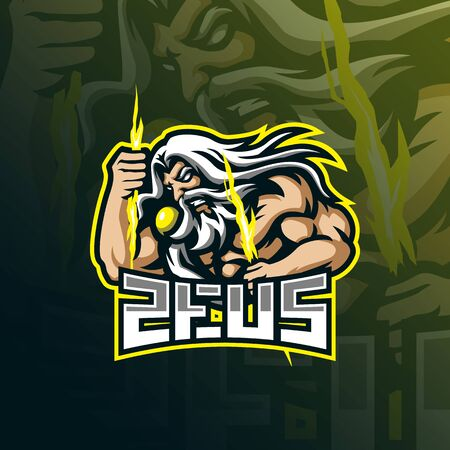 zeus mascot logo design vector with modern illustration concept style for badge, emblem and t shirt printing. angry zeus illustration.  イラスト・ベクター素材