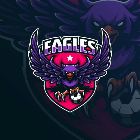 eagle mascot logo design vector with modern illustration concept style for badge, emblem and tshirt printing. angry eagle illustration with ball in hand.