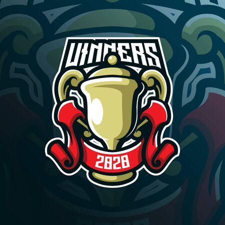 winner mascot logo design vector with modern illustration concept style for badge, emblem and tshirt printing. winner thropy illustration for sport and esport team.  イラスト・ベクター素材