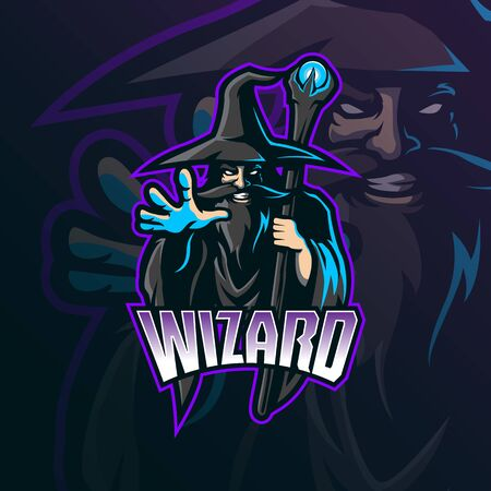 wizard mascot logo design vector with modern illustration concept style for badge, emblem and tshirt printing. wizard illustration for sport and esport team.