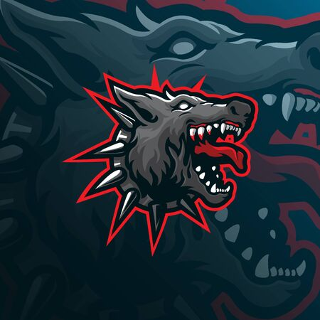wolf mascot logo design vector with modern illustration concept style for badge, emblem and tshirt printing. wolf head illustration.