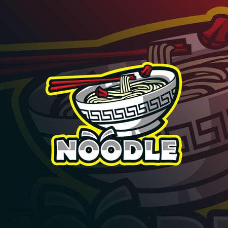 noodle mascot logo design vector with modern illustration concept style for badge, emblem and tshirt printing. noodle illustration.