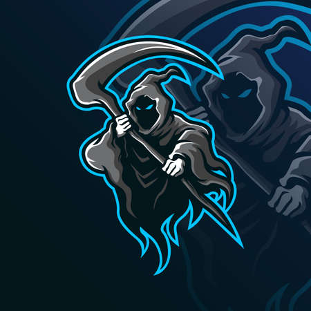 reaper mascot logo design vector with modern illustration concept style for badge, emblem and tshirt printing. reaper illustration for sport team.