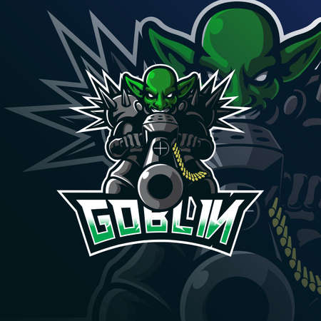 goblin mascot logo design vector with modern illustration concept style for badge, emblem and tshirt printing. goblin illustration for sport and esport team.