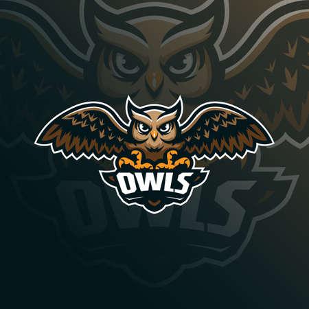 owl mascot logo design vector with modern illustration concept style for badge, emblem and tshirt printing. owl illustration for sport team.  イラスト・ベクター素材
