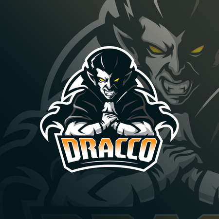 vampire mascot logo design vector with modern illustration concept style for badge, emblem and tshirt printing. vampire illustration for sport team.  イラスト・ベクター素材