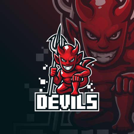 devil mascot logo design vector with modern illustration concept style for badge, emblem and tshirt printing. devil illustration for sport team.  イラスト・ベクター素材