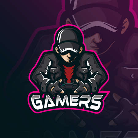 gamer mascot logo design vector with modern illustration concept style for badge, emblem and tshirt printing. gamer illustration for sport and esport team.