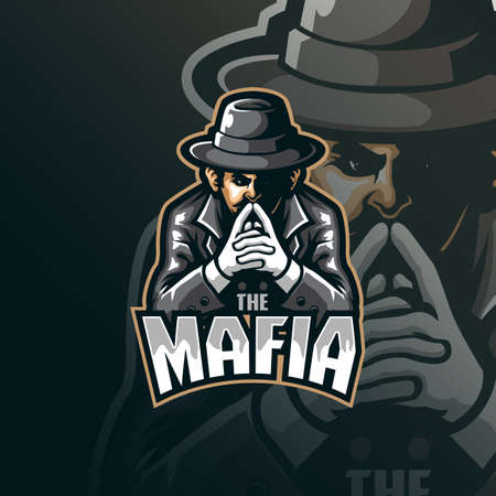 mafia mascot logo design vector with modern illustration concept style for badge, emblem and tshirt printing. mafia illustration for sport and esport team.