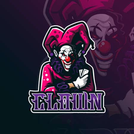 clown mascot logo design vector with modern illustration concept style for badge, emblem and tshirt printing. clown illustration for sport team. Çizim