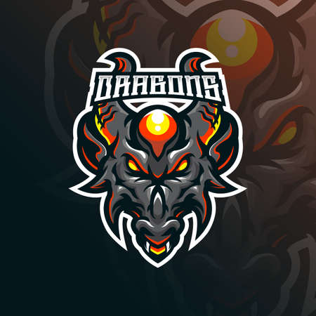 dragon mascot logo design vector with modern illustration concept style for badge, emblem and tshirt printing. head dragon illustration for sport team.