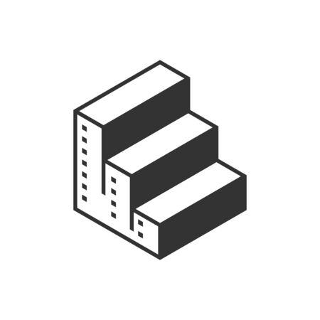 logo design stair real estate vector Illustration