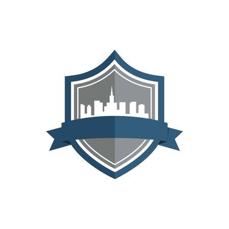 logo design shield city vector