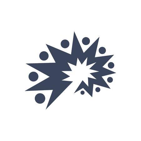 logo design brain spark, people group icon vector 免版税图像 - 148400060