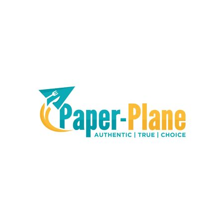 logo design paper plane restaurant icon vector Illustration