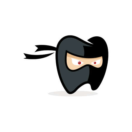 logo design mascot dental ninja vector