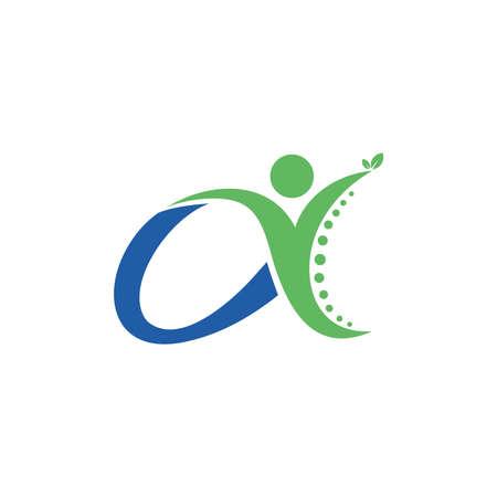 alpha chiropractic, letter a logo design vector