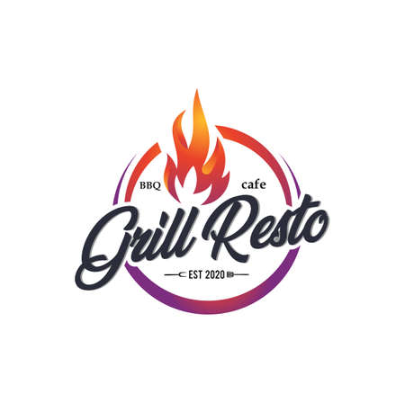Vintage Retro Roasting, Barbecue, Label Stamp Logo design vector Logo