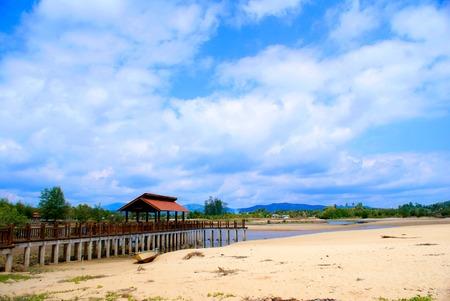 kampung: Old cottage by the sea in kemaman, terengganu malaysia Stock Photo