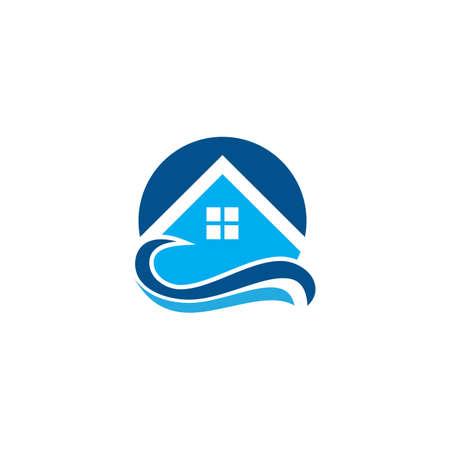 house wave resort tropical logo