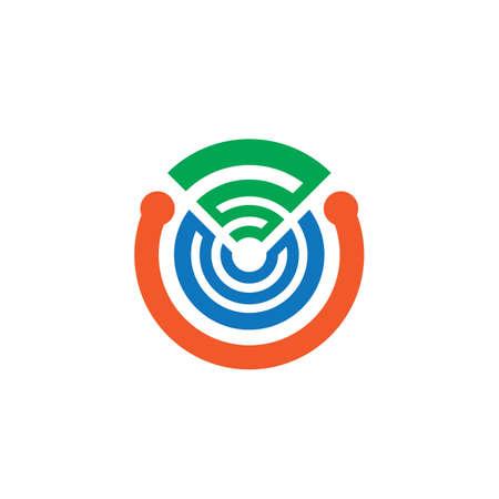 abstract circle network technology logo